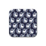Geometric Deer Retro Pattern Rubber Square Coaster (4 pack)  Front