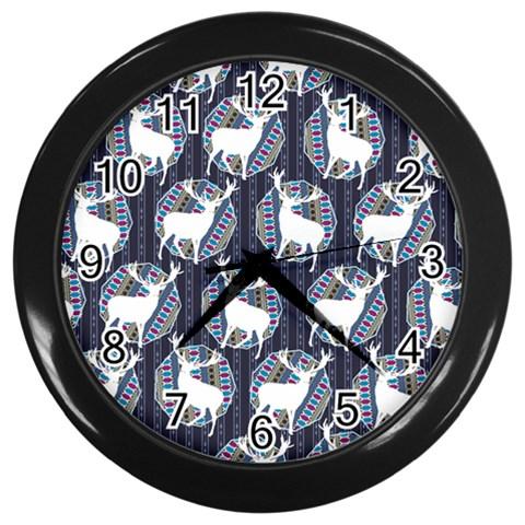 Geometric Deer Retro Pattern Wall Clocks (Black)