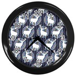 Geometric Deer Retro Pattern Wall Clocks (Black) Front