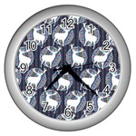 Geometric Deer Retro Pattern Wall Clocks (Silver)  Front