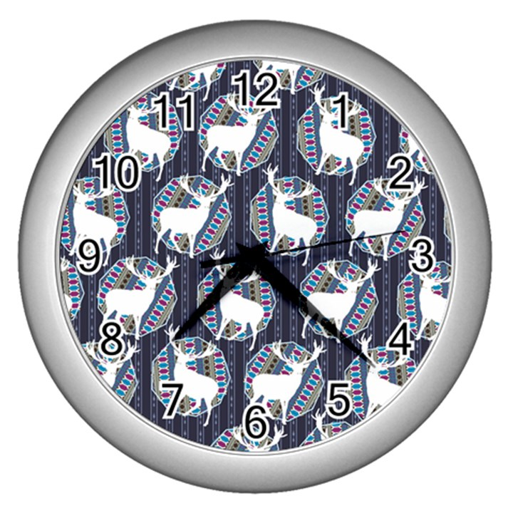 Geometric Deer Retro Pattern Wall Clocks (Silver)