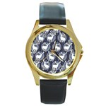 Geometric Deer Retro Pattern Round Gold Metal Watch Front