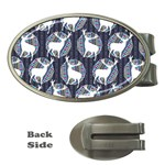 Geometric Deer Retro Pattern Money Clips (Oval)  Front