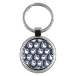 Geometric Deer Retro Pattern Key Chains (Round)  Front