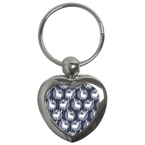 Geometric Deer Retro Pattern Key Chains (Heart)
