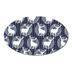 Geometric Deer Retro Pattern Oval Magnet Front