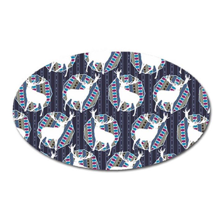 Geometric Deer Retro Pattern Oval Magnet