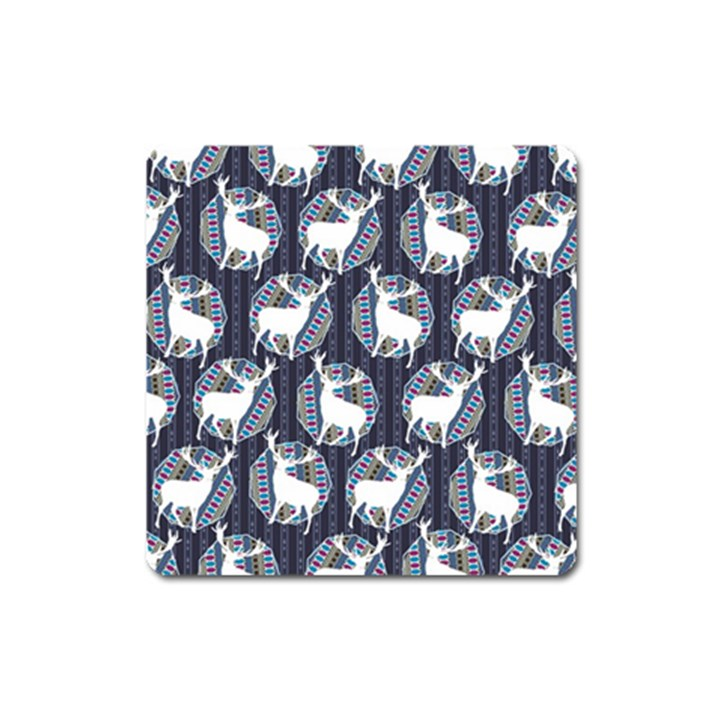 Geometric Deer Retro Pattern Square Magnet