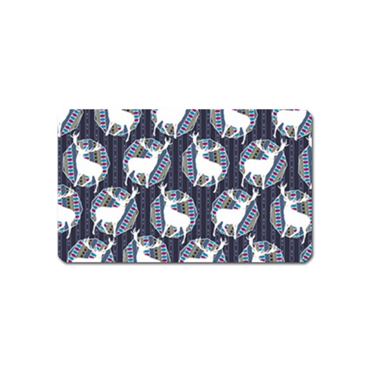 Geometric Deer Retro Pattern Magnet (Name Card)