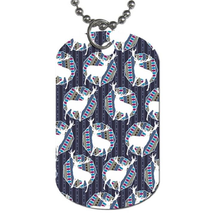 Geometric Deer Retro Pattern Dog Tag (One Side)