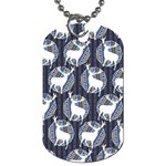 Geometric Deer Retro Pattern Dog Tag (Two Sides) Back