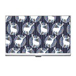 Geometric Deer Retro Pattern Business Card Holders Front