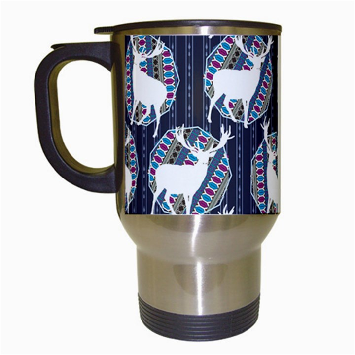 Geometric Deer Retro Pattern Travel Mugs (White)