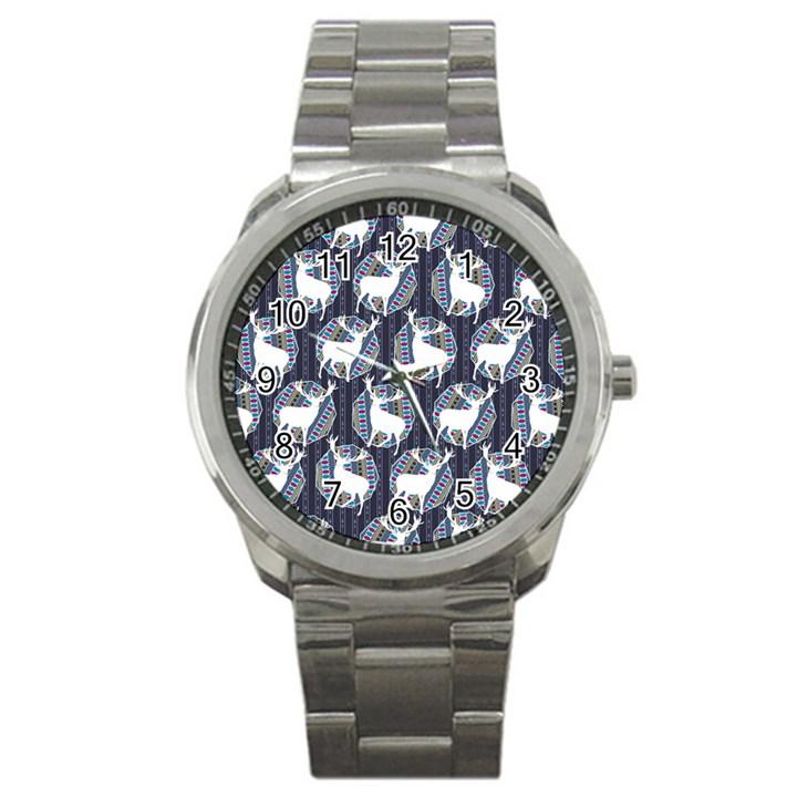 Geometric Deer Retro Pattern Sport Metal Watch