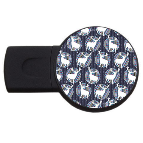 Geometric Deer Retro Pattern USB Flash Drive Round (4 GB)