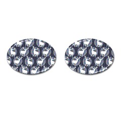 Geometric Deer Retro Pattern Cufflinks (Oval)