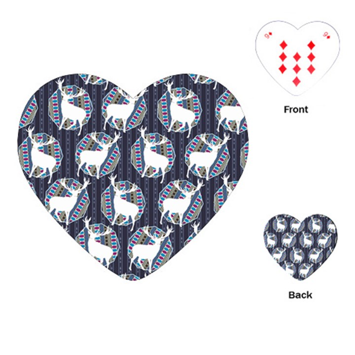 Geometric Deer Retro Pattern Playing Cards (Heart)