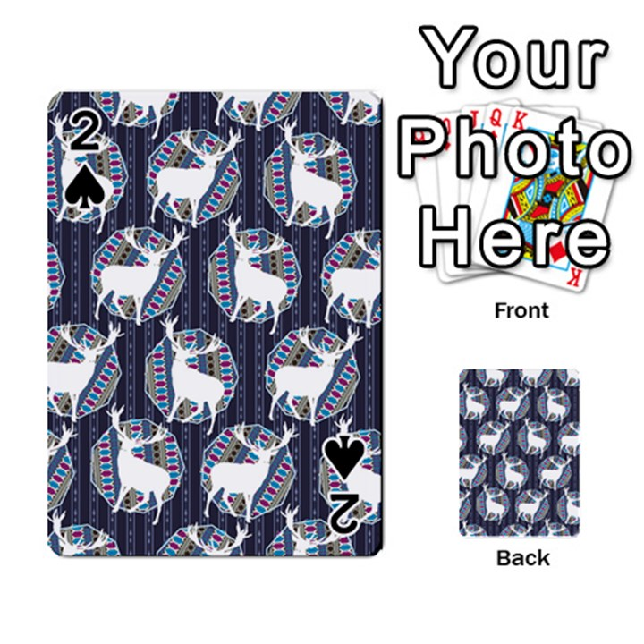 Geometric Deer Retro Pattern Playing Cards 54 Designs