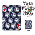 Geometric Deer Retro Pattern Playing Cards 54 Designs  Front - Heart2