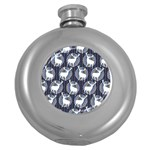 Geometric Deer Retro Pattern Round Hip Flask (5 oz) Front