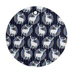 Geometric Deer Retro Pattern Round Ornament (Two Sides)  Front