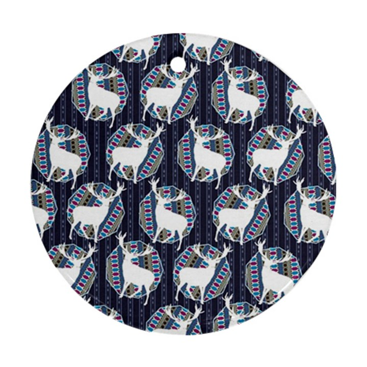 Geometric Deer Retro Pattern Round Ornament (Two Sides)