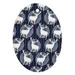 Geometric Deer Retro Pattern Oval Ornament (Two Sides) Front
