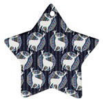 Geometric Deer Retro Pattern Star Ornament (Two Sides)  Back