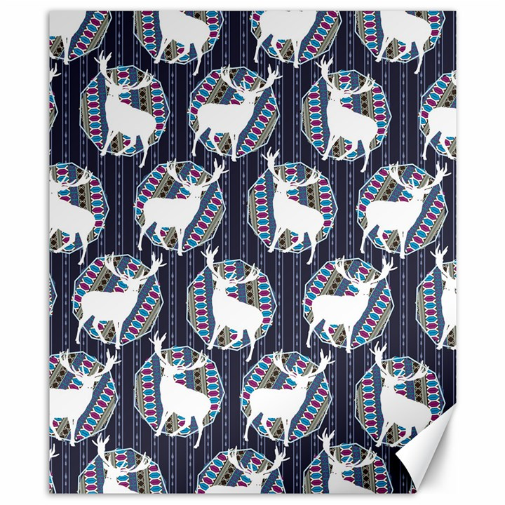 Geometric Deer Retro Pattern Canvas 8  x 10