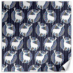 Geometric Deer Retro Pattern Canvas 12  x 12