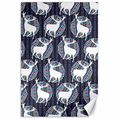 Geometric Deer Retro Pattern Canvas 24  x 36