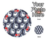 Geometric Deer Retro Pattern Playing Cards 54 (Round)  Front - Heart9