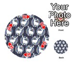 Geometric Deer Retro Pattern Playing Cards 54 (Round)  Front - Heart10