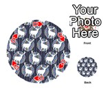 Geometric Deer Retro Pattern Playing Cards 54 (Round)  Front - HeartQ