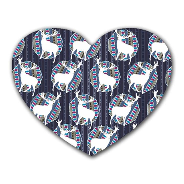 Geometric Deer Retro Pattern Heart Mousepads