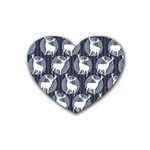 Geometric Deer Retro Pattern Rubber Coaster (Heart)  Front