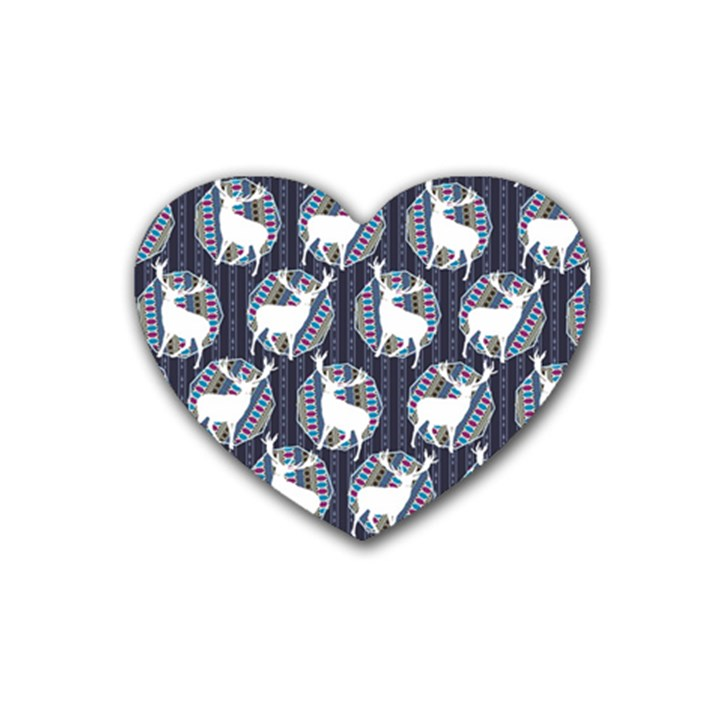 Geometric Deer Retro Pattern Rubber Coaster (Heart)