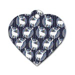Geometric Deer Retro Pattern Dog Tag Heart (One Side) Front
