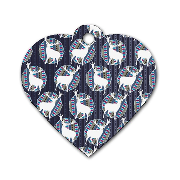 Geometric Deer Retro Pattern Dog Tag Heart (Two Sides)