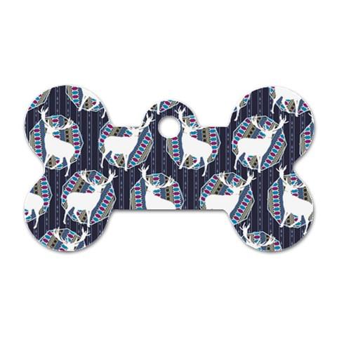 Geometric Deer Retro Pattern Dog Tag Bone (Two Sides)
