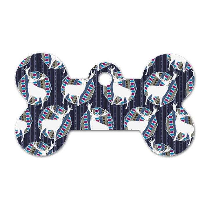Geometric Deer Retro Pattern Dog Tag Bone (Two Sides)