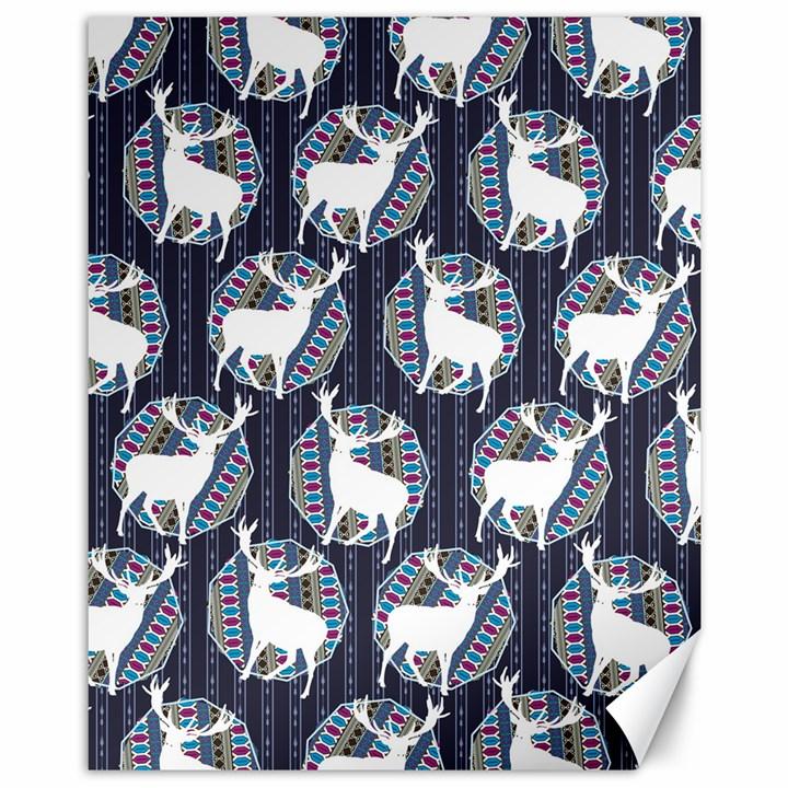Geometric Deer Retro Pattern Canvas 11  x 14