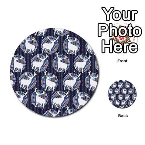 Geometric Deer Retro Pattern Multi-purpose Cards (Round)