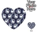 Geometric Deer Retro Pattern Multi-purpose Cards (Heart)  Front 34