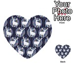 Geometric Deer Retro Pattern Multi-purpose Cards (Heart)  Back 46