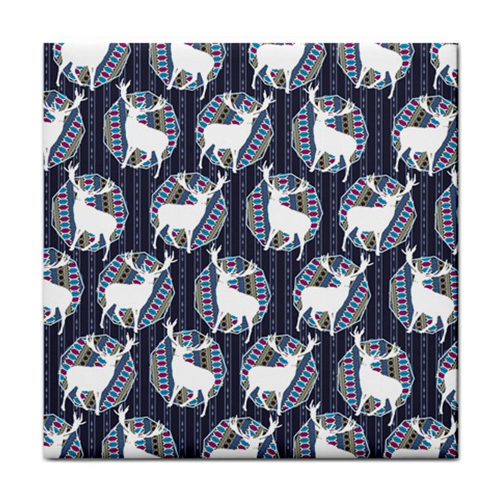 Geometric Deer Retro Pattern Face Towel