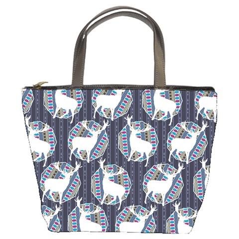 Geometric Deer Retro Pattern Bucket Bags
