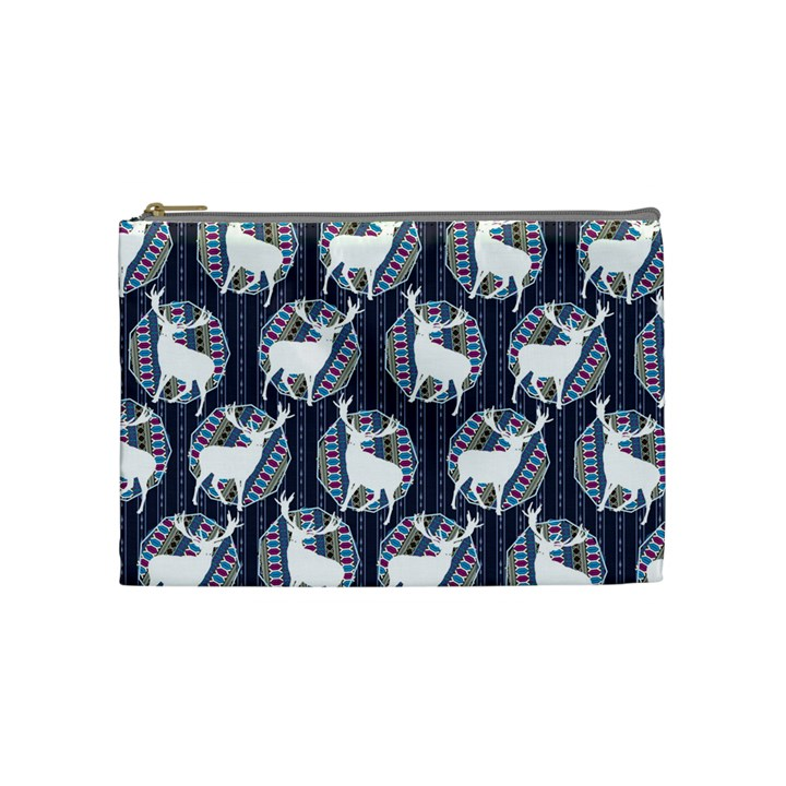Geometric Deer Retro Pattern Cosmetic Bag (Medium)