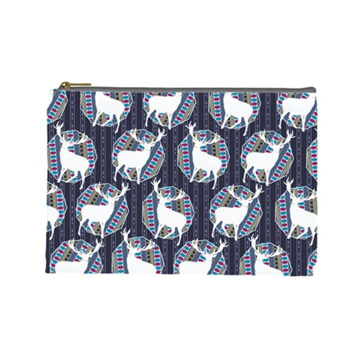 Geometric Deer Retro Pattern Cosmetic Bag (Large)