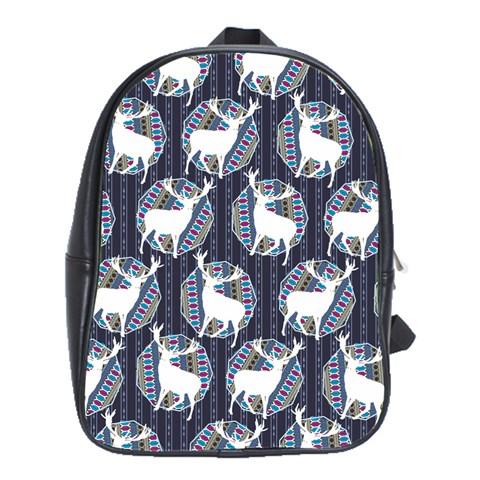 Geometric Deer Retro Pattern School Bags(Large)